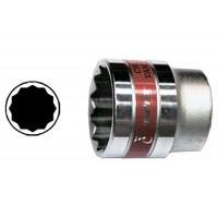 Головка торцевая 22 мм, двенадцатигранная, CrV, под квадрат 1/2, хромированная Matrix Master 13692