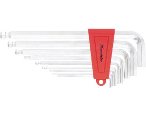 Набор ключей имбусовых HEX, 1.5-10x9 шт, экстра длинные, c шаром, сатин-хром, Matrix 16410