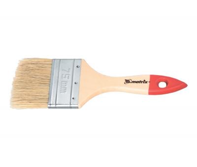 """Кисть плоская """"Стандарт"""" 3/4"""" (20 мм), натуральная щетина, деревянная ручка Matrix 82515 в Алматы"""
